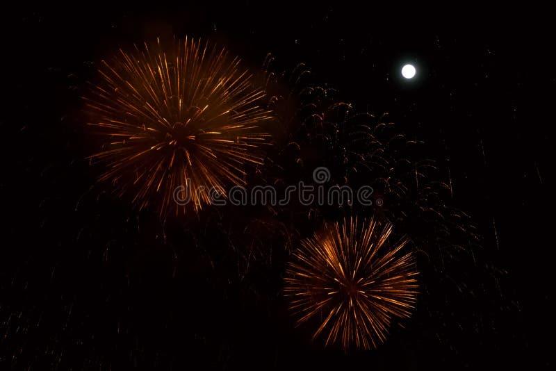 Fogos-de-artifício vermelhos e dourados no fundo da noite com lua imagens de stock royalty free