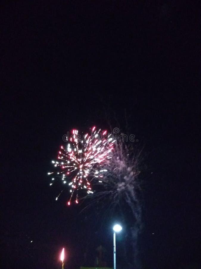 Fogos fajerwerków plażowy nowy rok zdjęcia royalty free