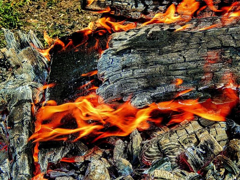 Fogueira ardente com cantos vermelhos imagem de stock