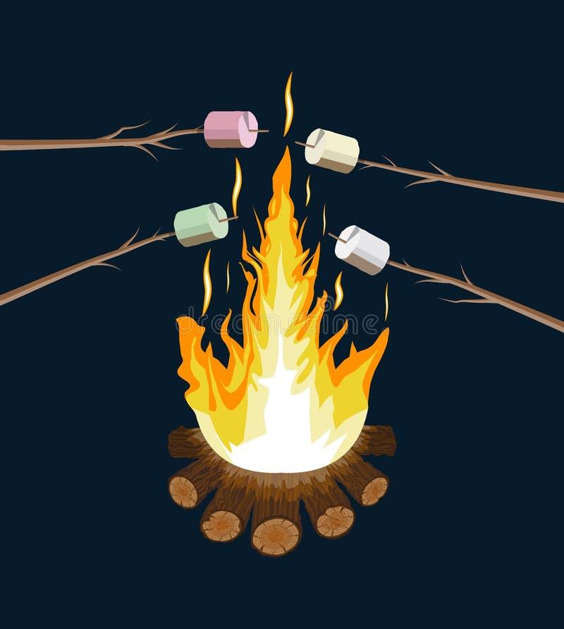 Fogueira com marshmallow Logs e fogo ilustração stock
