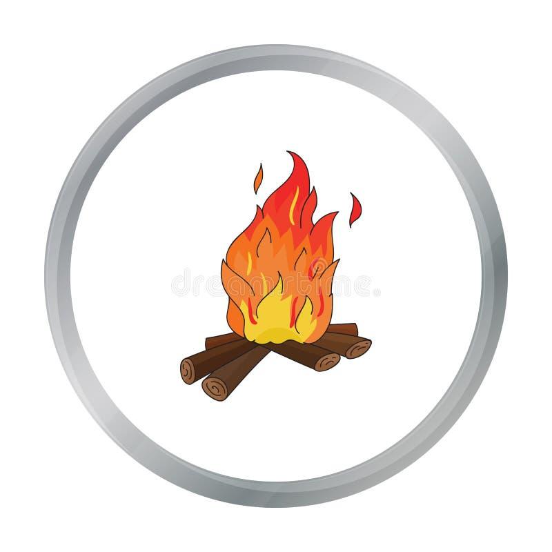 Fogueira do ícone da Idade da Pedra no estilo dos desenhos animados isolado no fundo branco Ilustração do vetor do estoque do sím ilustração stock