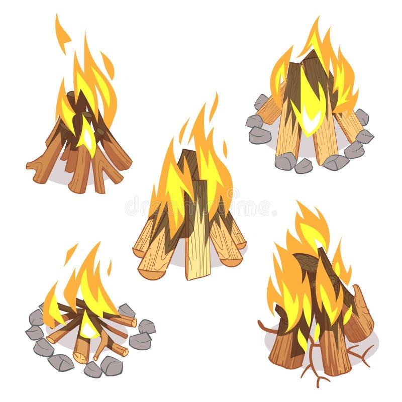 Fogueira, fogueira exterior com grupo queimado do vetor dos desenhos animados dos logs ilustração stock
