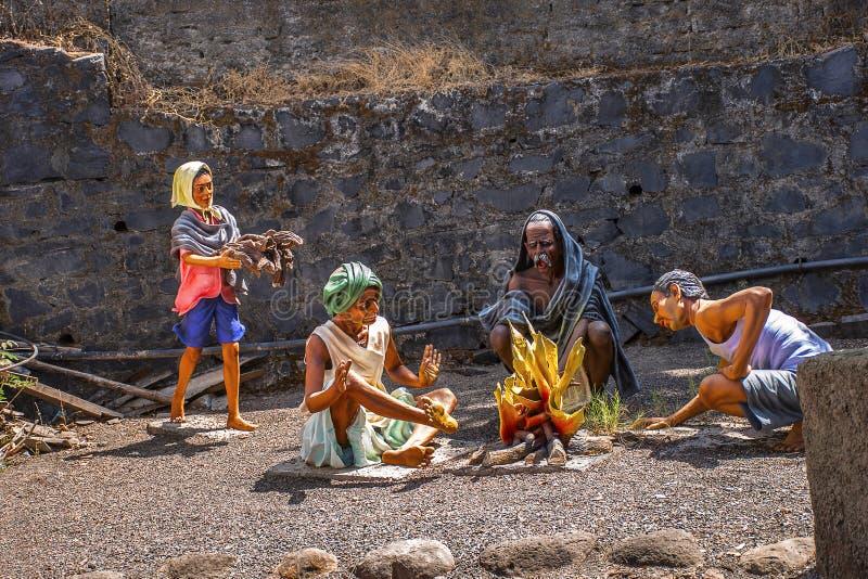 Fogueira na vila, museu da escultura, matemática de Kaneri, Kolhapur, Maharashtra imagem de stock royalty free