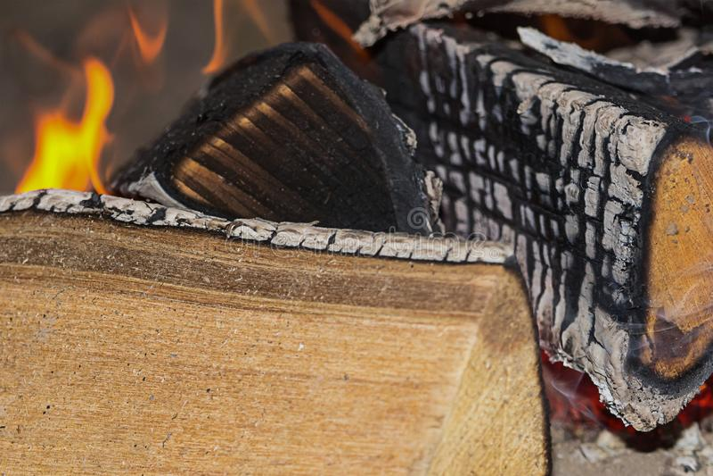 A fogueira que os grandes logs carbonizaram a cinza cobriu a fonte do flamingo das línguas de calor que cozinha o projeto exterio fotografia de stock royalty free