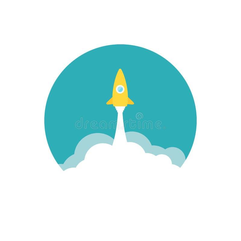 Foguete amarelo e nuvem branca, ícone do círculo no plano ilustração royalty free