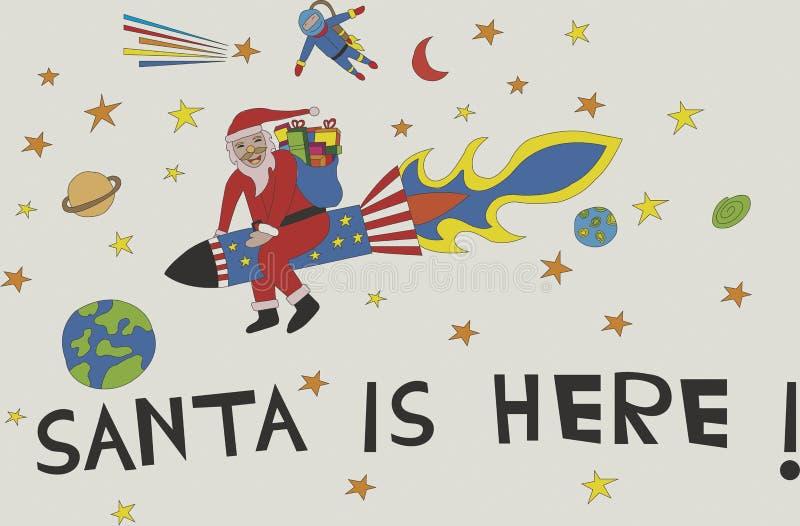 Foguete da equitação de Santa à terra com Natal dos presentes ilustração royalty free