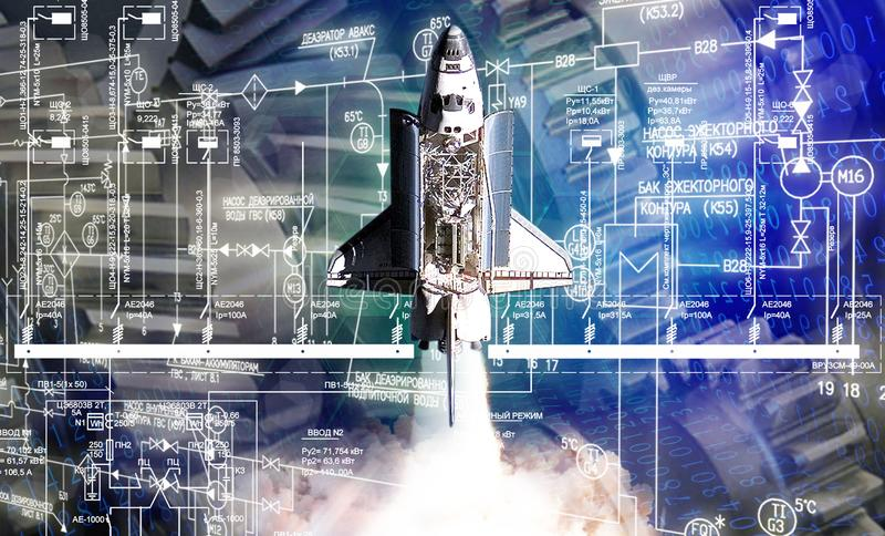 foguete de espaço da construção da engenharia industrial imagens de stock