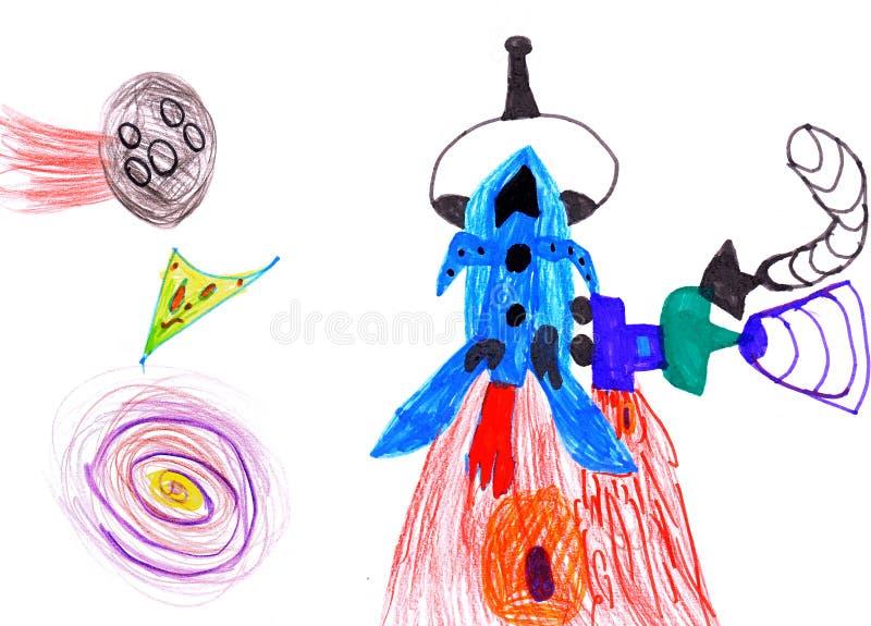 Foguete de espaço. desenho das crianças. ilustração royalty free