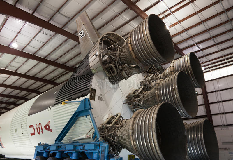 Foguete de Saturn V no ` s Johnson Space Center da NASA fotografia de stock royalty free