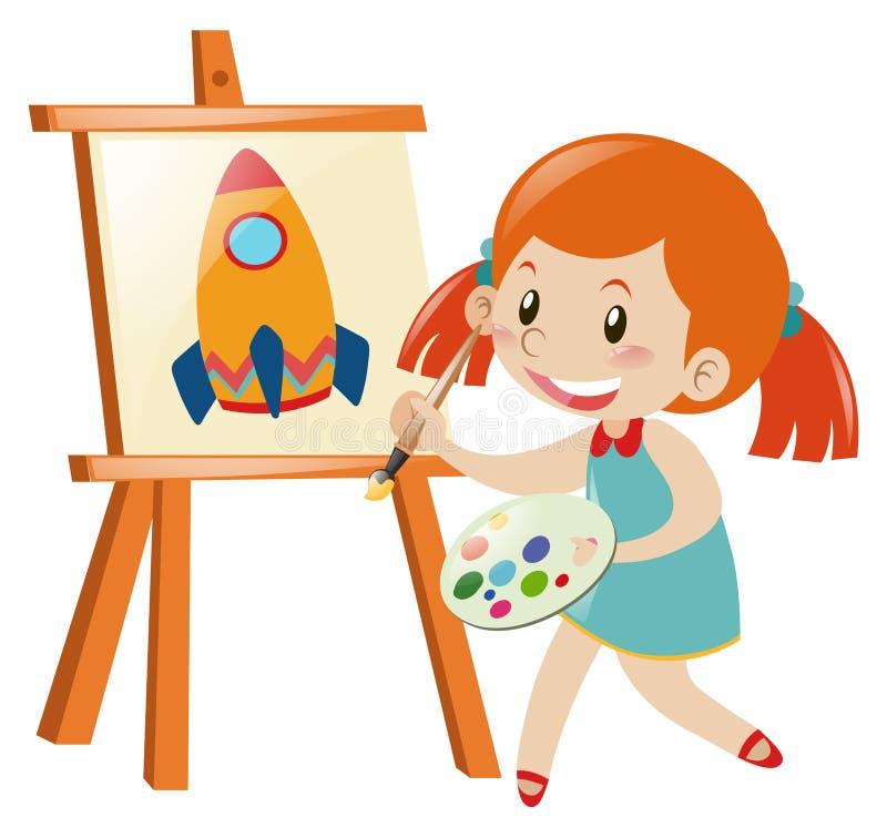 Foguete do desenho da menina na lona ilustração stock