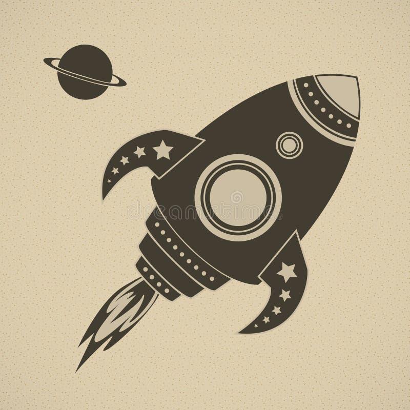 Foguete do vetor do vintage no espaço ilustração stock