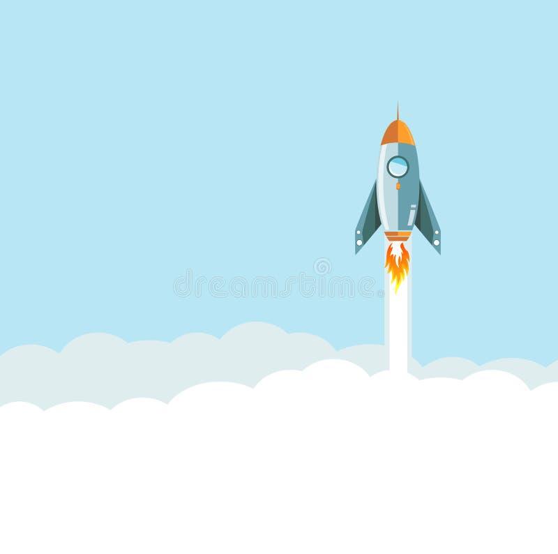 foguete do voo sobre o fundo das nuvens ilustração royalty free