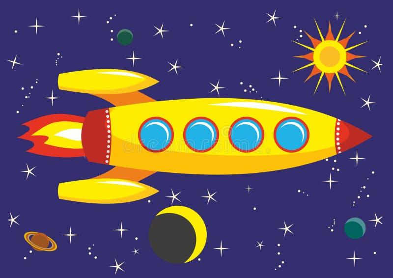 foguete no espaço ilustração do vetor