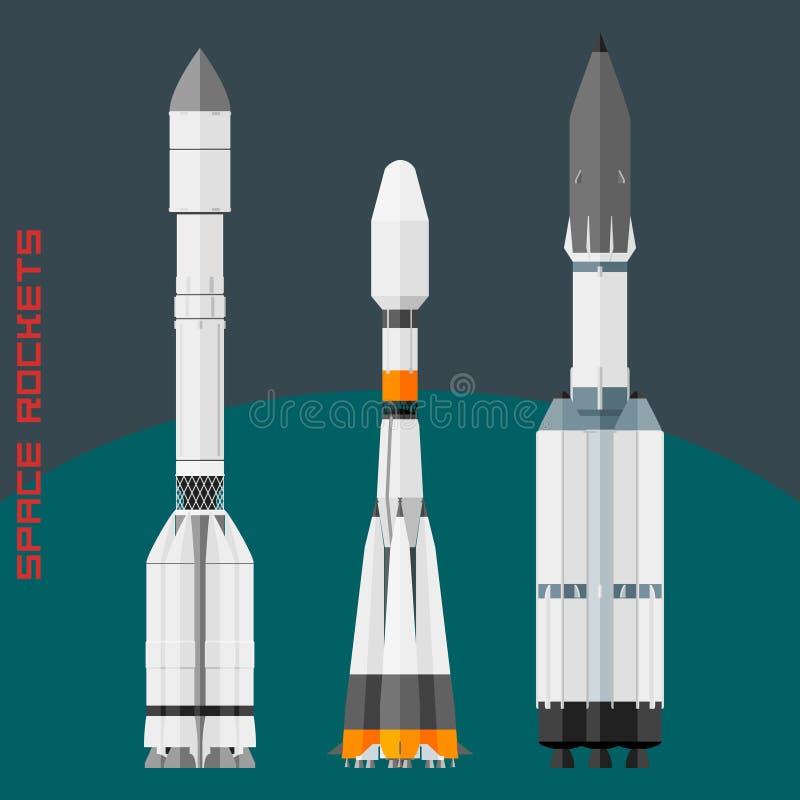Foguetes de espaço do russo ajustados imagens de stock