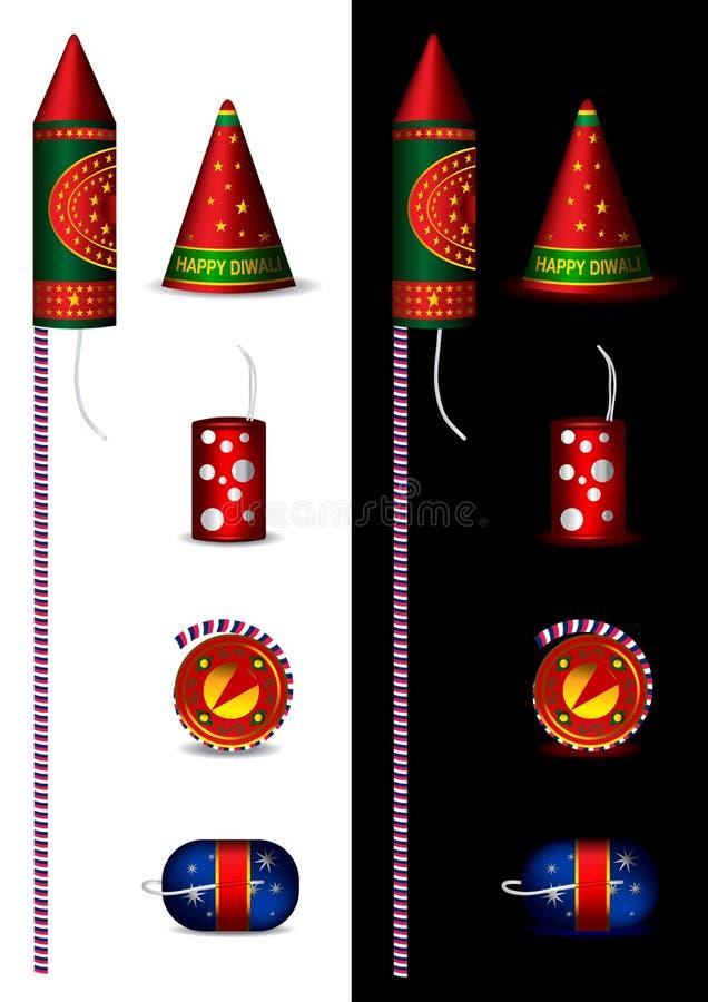 Foguetes indianos tradicionais para o diwali ilustração royalty free