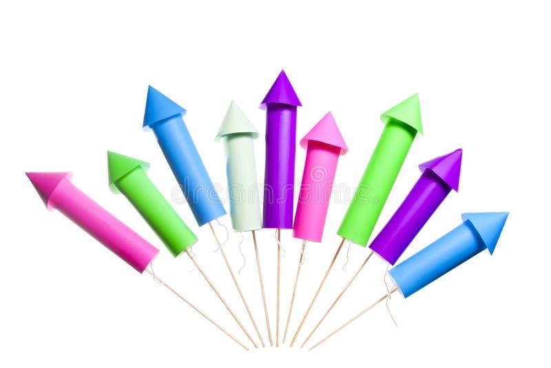 Foguetes isolados dos fogos-de-artifício imagem de stock