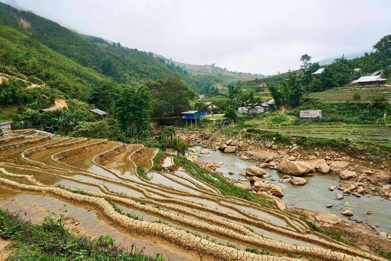 Fogy τοπίο Ricefields στο λαοτιανό valey sapa chai στο Βιετνάμ Sapa, Βιετνάμ - 22 mai 2019 στοκ φωτογραφίες