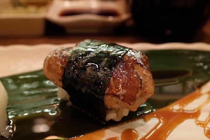 Foi gras sushi stock images