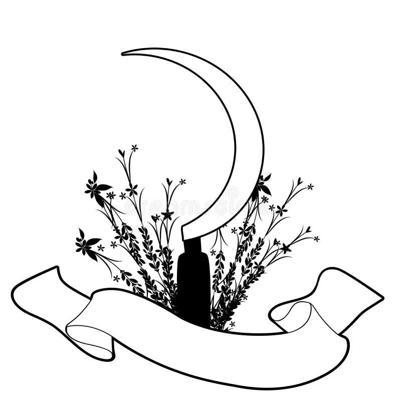 Foice, flores e bandeira do texto, isolada no fundo branco ilustração do vetor