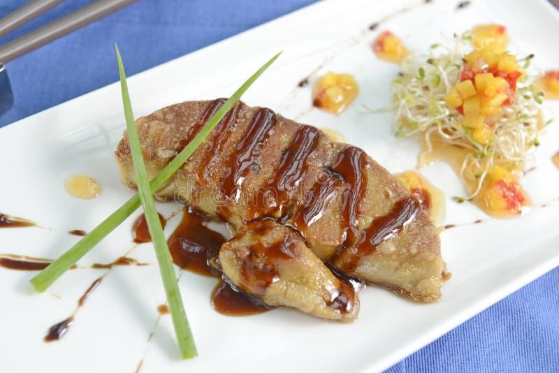Foie gras, en läcker maträtt arkivfoton