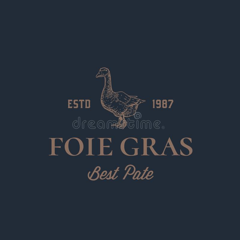 Foie Gras Goose Pate Abstract Vector Sign, Symbol or Logo Template. Hand Drawn Goose Sillhouette with Retro Typography vector illustration
