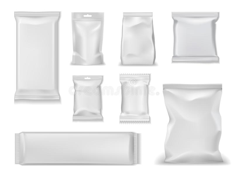 Foil bag packs, white sachet pouch doy package. Bag packs, white foil doypack and sachet pouch template mockups. Vector isolated realistic 3D blank glossy doy royalty free illustration