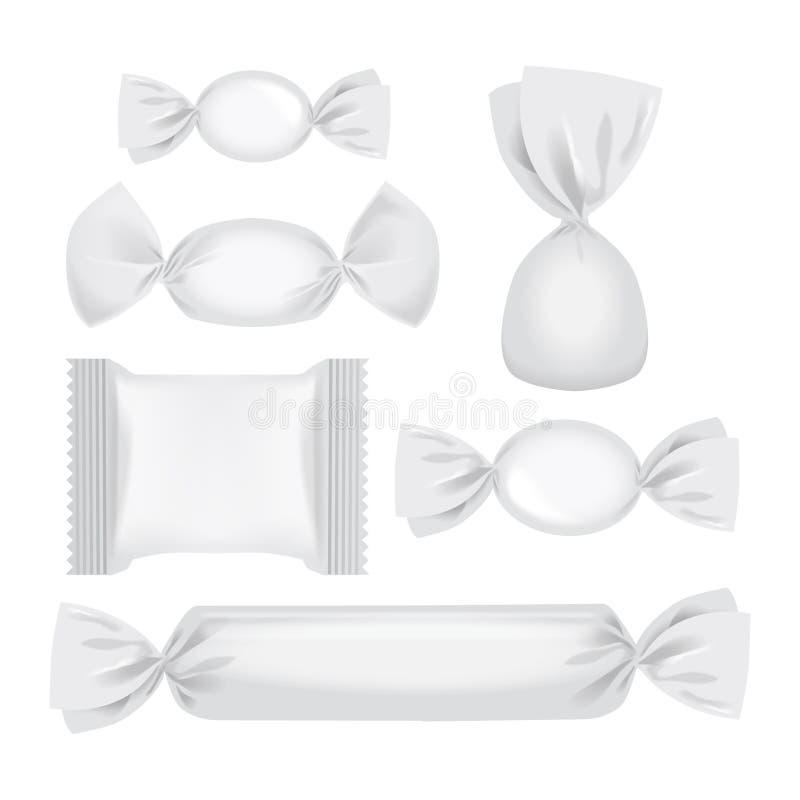 Foil el paquete para los caramelos y otros productos, mofa realista del paquete del bocado de la comida para arriba libre illustration