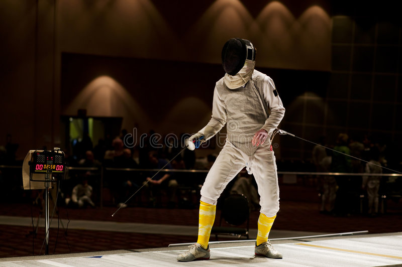 Foil Fencer Ready To Compete stock photography