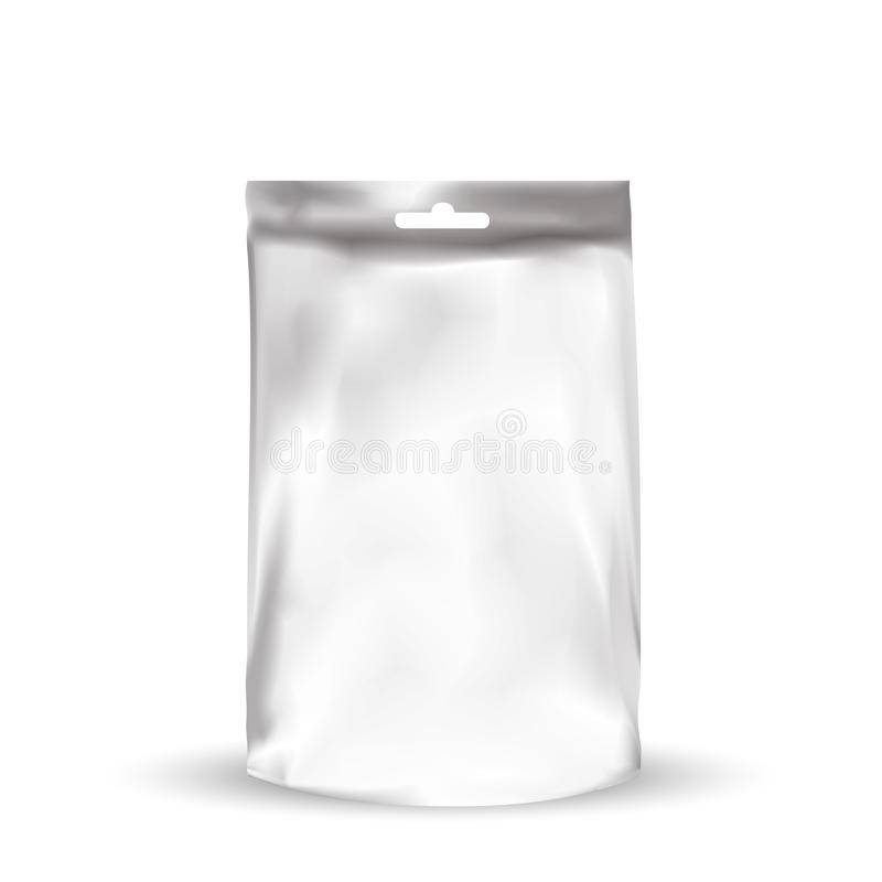 Foil packaging bag with hole to hang. VECTOR PACKAGING: Foil packaging bag with hole to hang for snack or take away, bulk products, tea, coffee, spices on white vector illustration