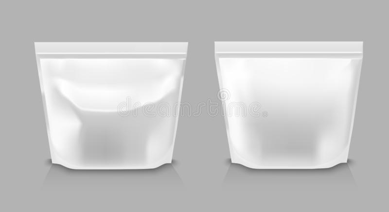 Foil packaging for snacks, food, chips, sugar and spices.  stock illustration