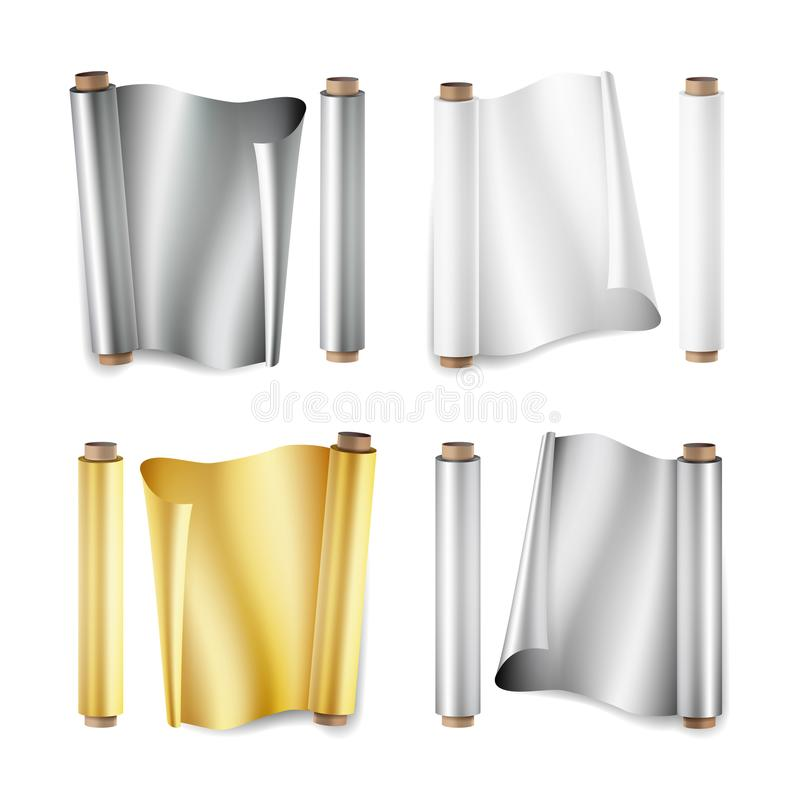 Foil Roll Set Vector. Aluminium, Metal, Gold, Baking Paper. Close Up Top View. Opened And Closed. Realistic Illustration. Isolated royalty free illustration