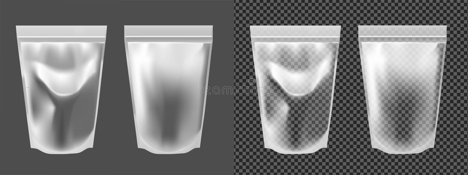 Foil transparent packaging for snacks, food, chips, sugar and spices.  stock illustration