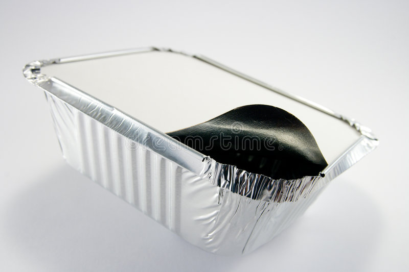 Two Square Foil Catering Trays One Partly Opened Stock