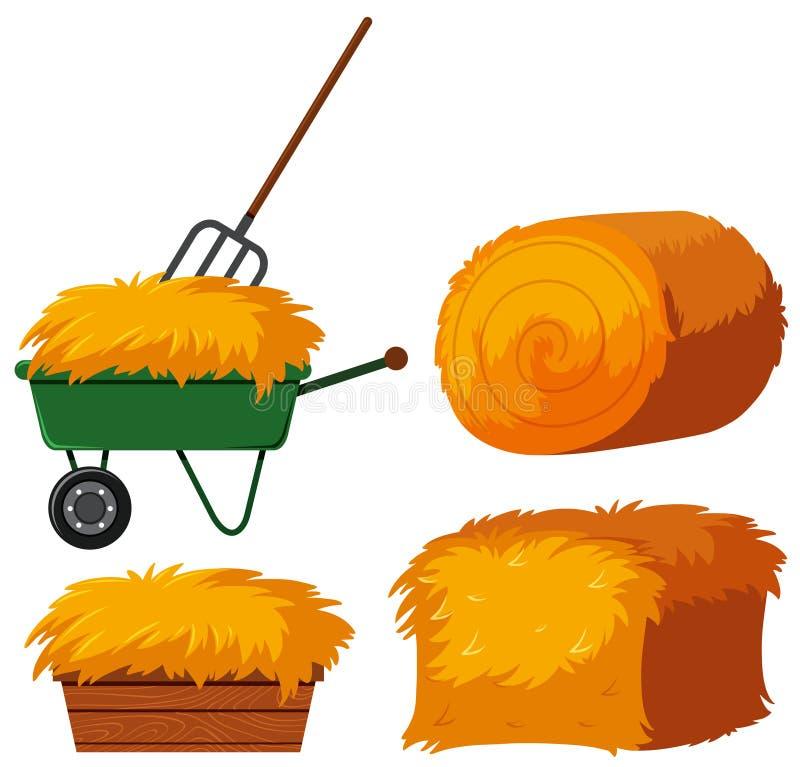 Foin sec dans le seau et le chariot illustration libre de droits