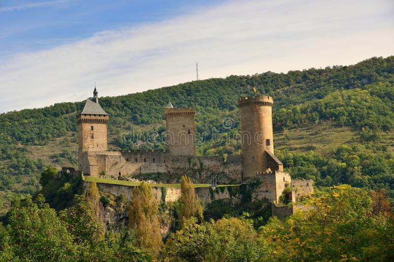 The Foix castle in the Ariege Pyrenees. France royalty free stock image