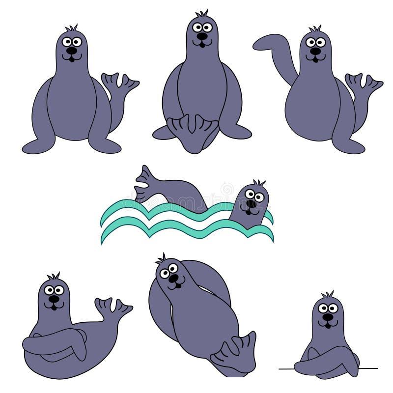 foka śliczny set royalty ilustracja