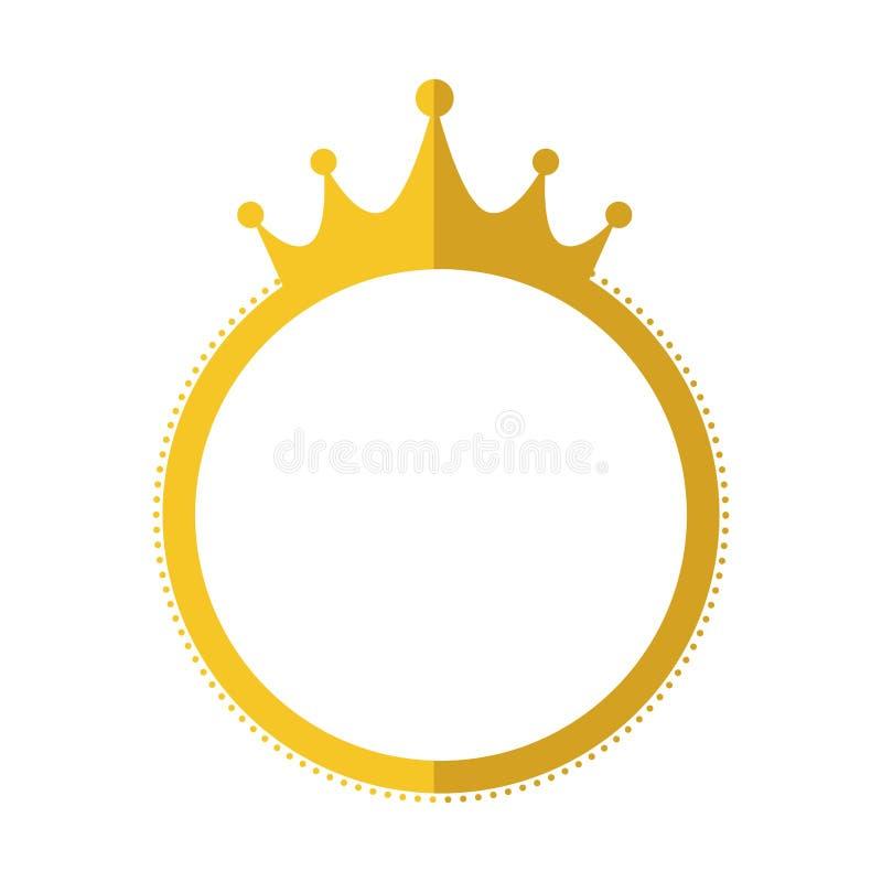 Foka znaczka korony etykietki sztandaru złocista ikona gdy dekoracyjna tło grafika stylizował wektorowe zawijas fala ilustracji