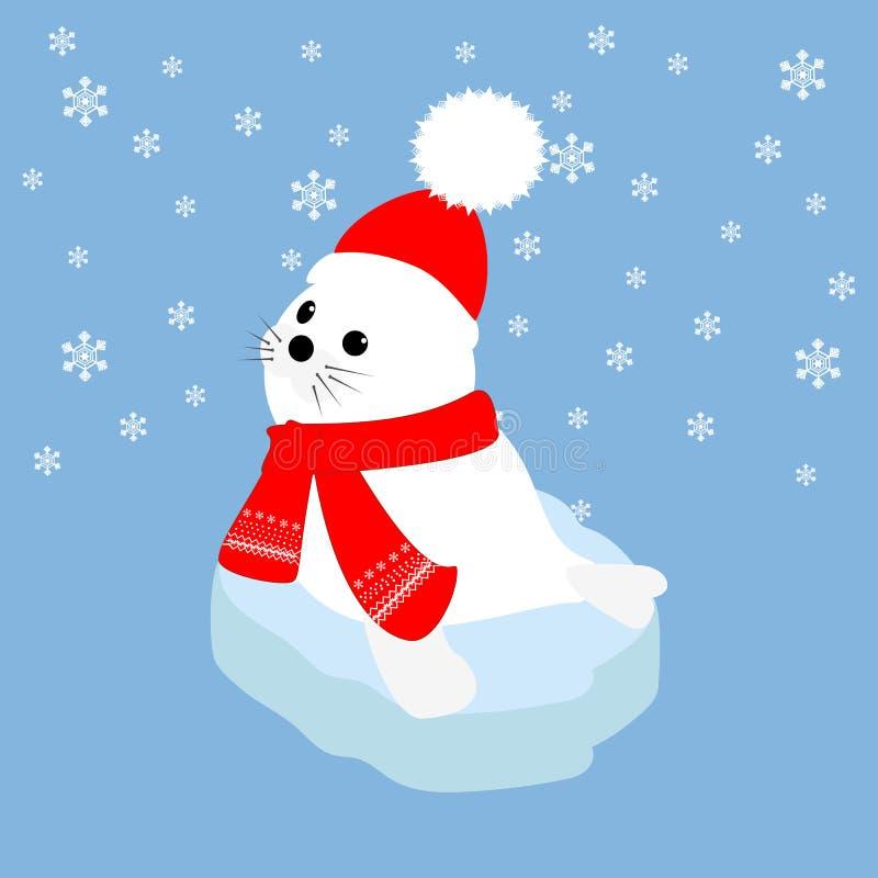 Foki dziecko na lodowym floe ilustracja wektor