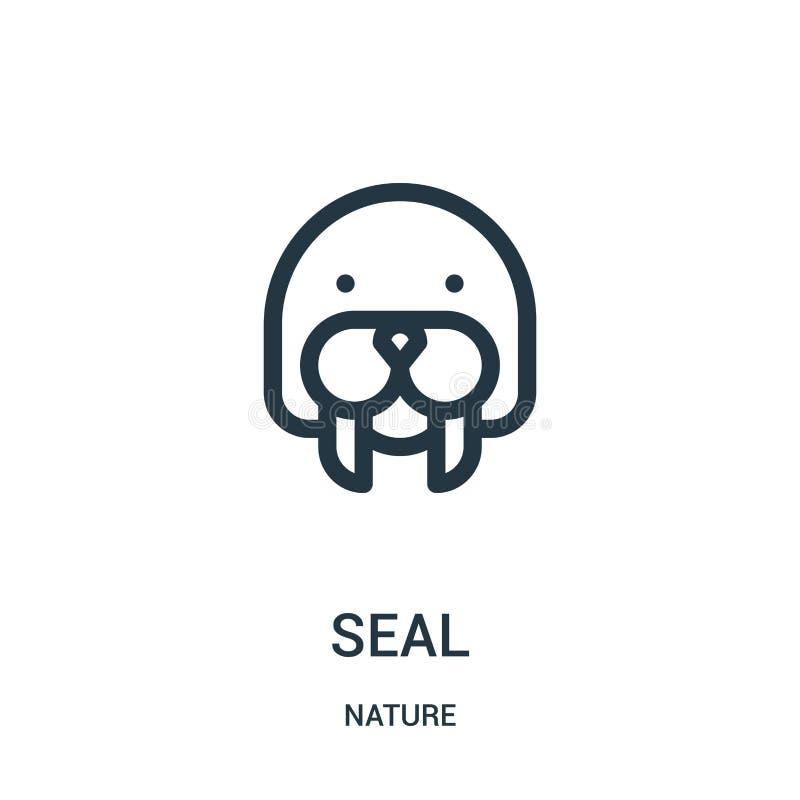foki ikony wektor od natury kolekcji Cienka kreskowa foka konturu ikony wektoru ilustracja Liniowy symbol dla używa na sieci i wi royalty ilustracja