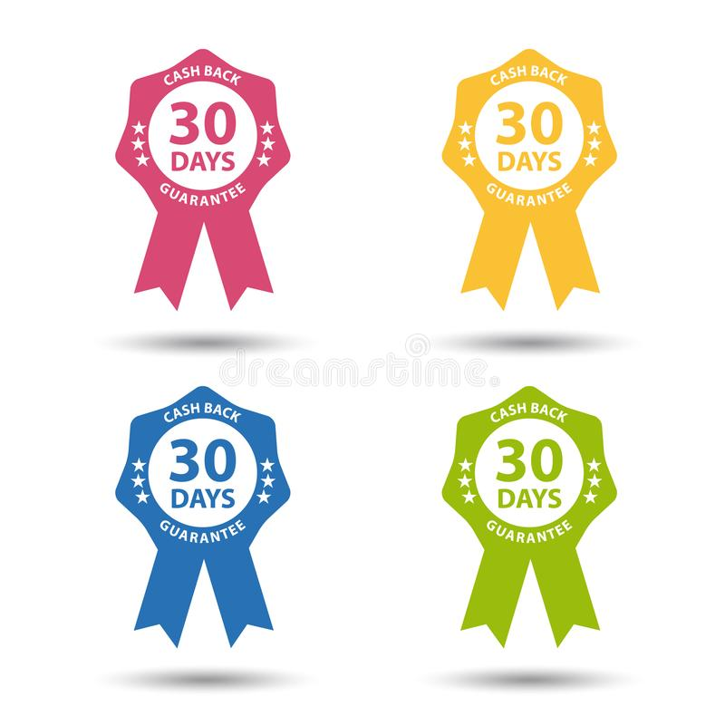 Foki odznaka 30 dni Spienięża Z powrotem gwarancję Odizolowywającą Na bielu - Kolorowy wektor Ustawiający - ilustracja wektor