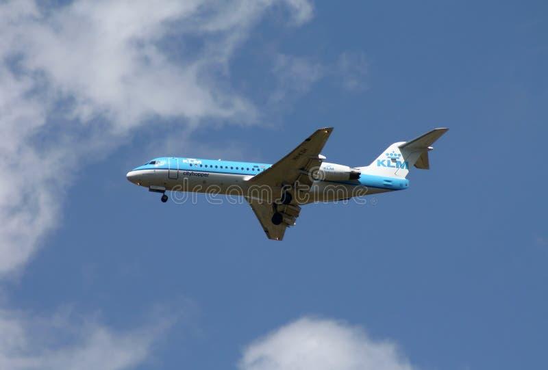 Fokker 70 del KLM Cityhopper imagen de archivo