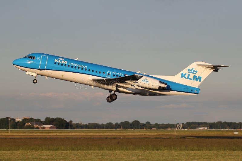 Fokker 70 del KLm Cityhopper imagen de archivo libre de regalías