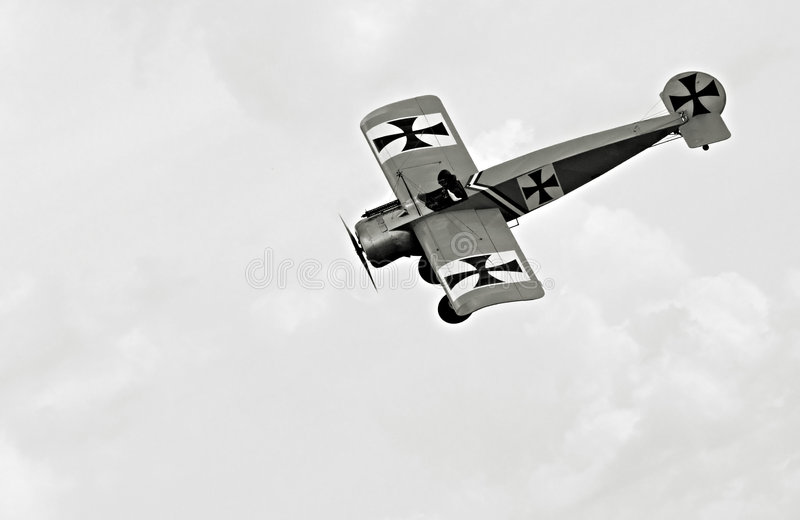 Fokker Eindecker. Monochrome vintage photography from ww1 - digiart - all the planes they are fictive royalty free stock photos