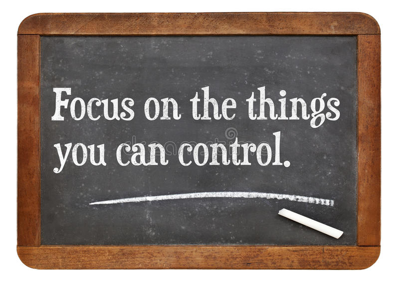 Fokus auf den Sachen können Sie cotrol stockfotos