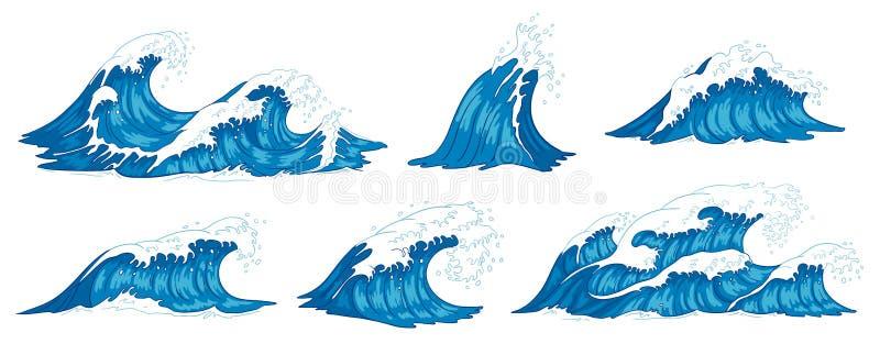 Fokus auf Welle auf dem Vordergrund Rasende Meerwasserwelle, Weinlesesturmwellen und Kräuselungsgezeiten übergeben gezogene Vekto lizenzfreie abbildung