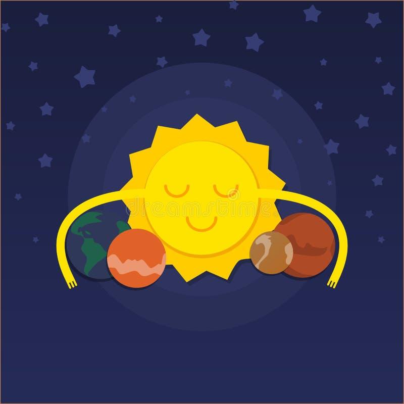 Fokus ein: Ausschnitts-Pfad Erdevenus-MercuryWith Sun, der Planeten umarmt stock abbildung