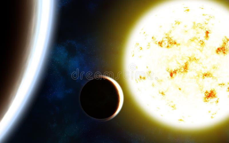 Fokus ein: Ausschnitts-Pfad Erdevenus-MercuryWith Sun, Planeten und Nebelflecke stock abbildung