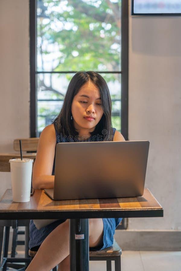 Fokus för ung kvinna på att arbeta med bärbara datorn på coffee shop royaltyfri fotografi