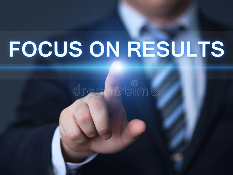 Fokus på begrepp för teknologi för internet för affär för strategi för resultatmålinställning arkivbilder