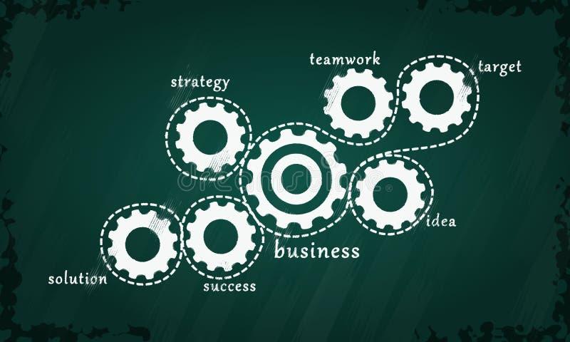 Fokusen är endast på ordaffärsstrategin, i red royaltyfri illustrationer
